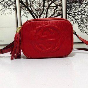 💖Gucci Soho Leather Disco bag Red bag 2021